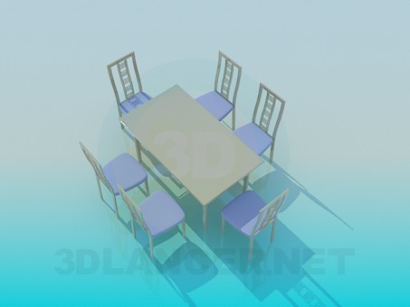 3d model Dining table and chairs included - preview