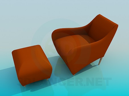3d model Chair with ottoman - preview