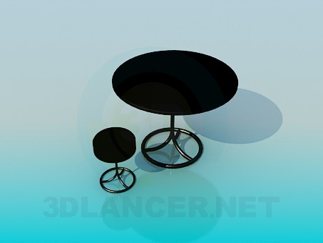 3d model Round table and stool set - preview