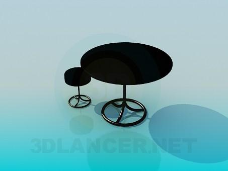 modelo 3D Mesa y taburete conjunto - escuchar