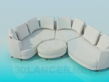 3d model Modular sofa with oval pouffe - preview
