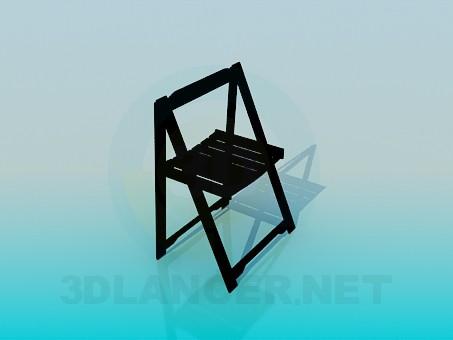 3d модель Раскладной деревянный стул – превью