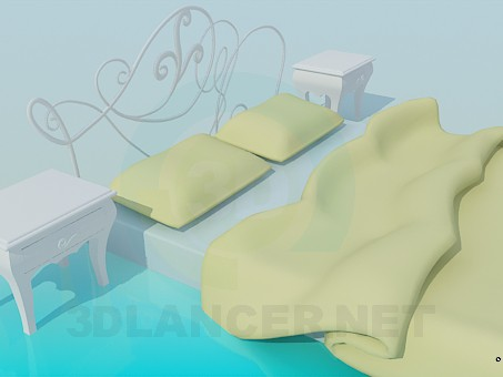 3d modeling Bed with side tables model free download