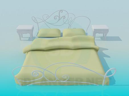 3d модель Кровать с тумбами – превью