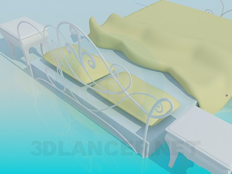 3d model Bed with side tables - preview