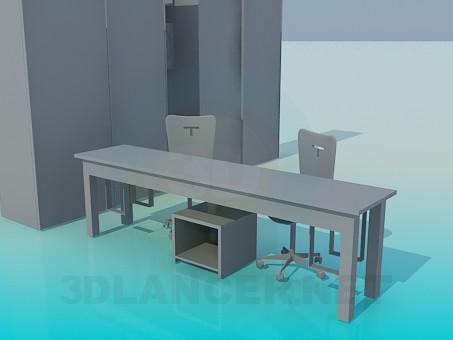 3d модель Мебель в детскую для двоих – превью