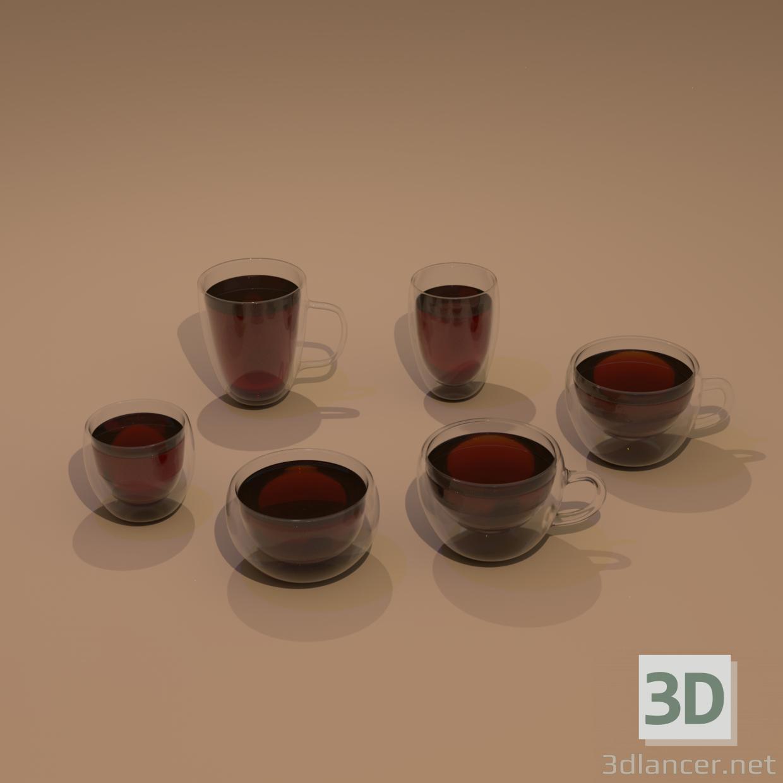 3d Set of glass cups model buy - render
