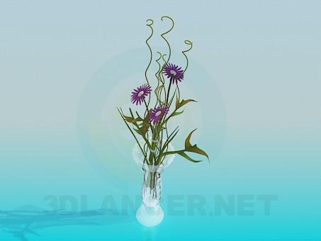 descarga gratuita de 3D modelado modelo Flores en florero