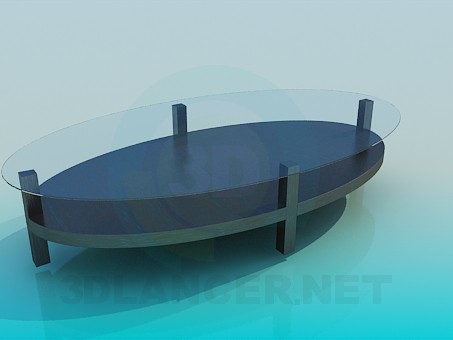 3d modeling Oval coffee table with glass surface model free download