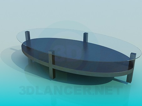 3d model Oval coffee table with glass surface - preview