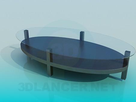 3d модель Овальний журнальний стіл зі скляною поверхнею – превью