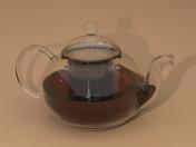 ढक्कन और चायदानी के साथ ग्लास चायदानी