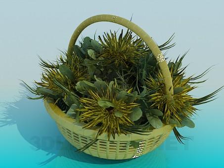descarga gratuita de 3D modelado modelo Cesta con flores