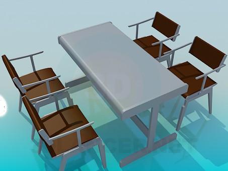 3d модель Стол и стулья для кафе – превью