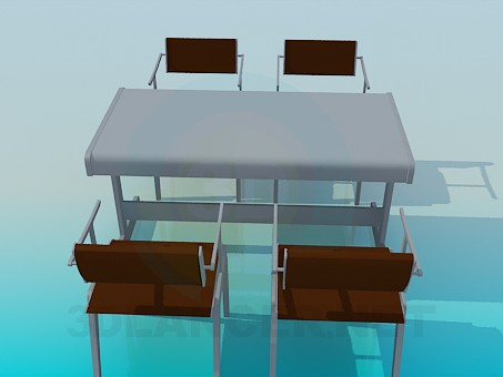 3d model Table and chairs for cafe - preview