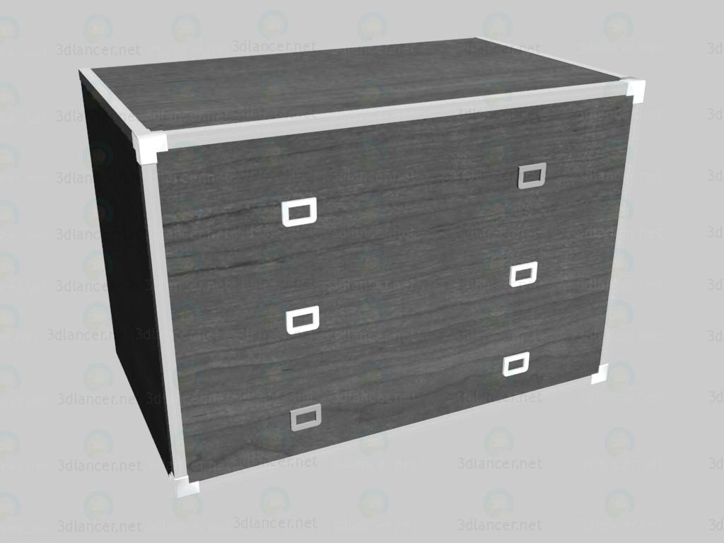 3d моделирование Комод низкий с ящиками модель скачать бесплатно