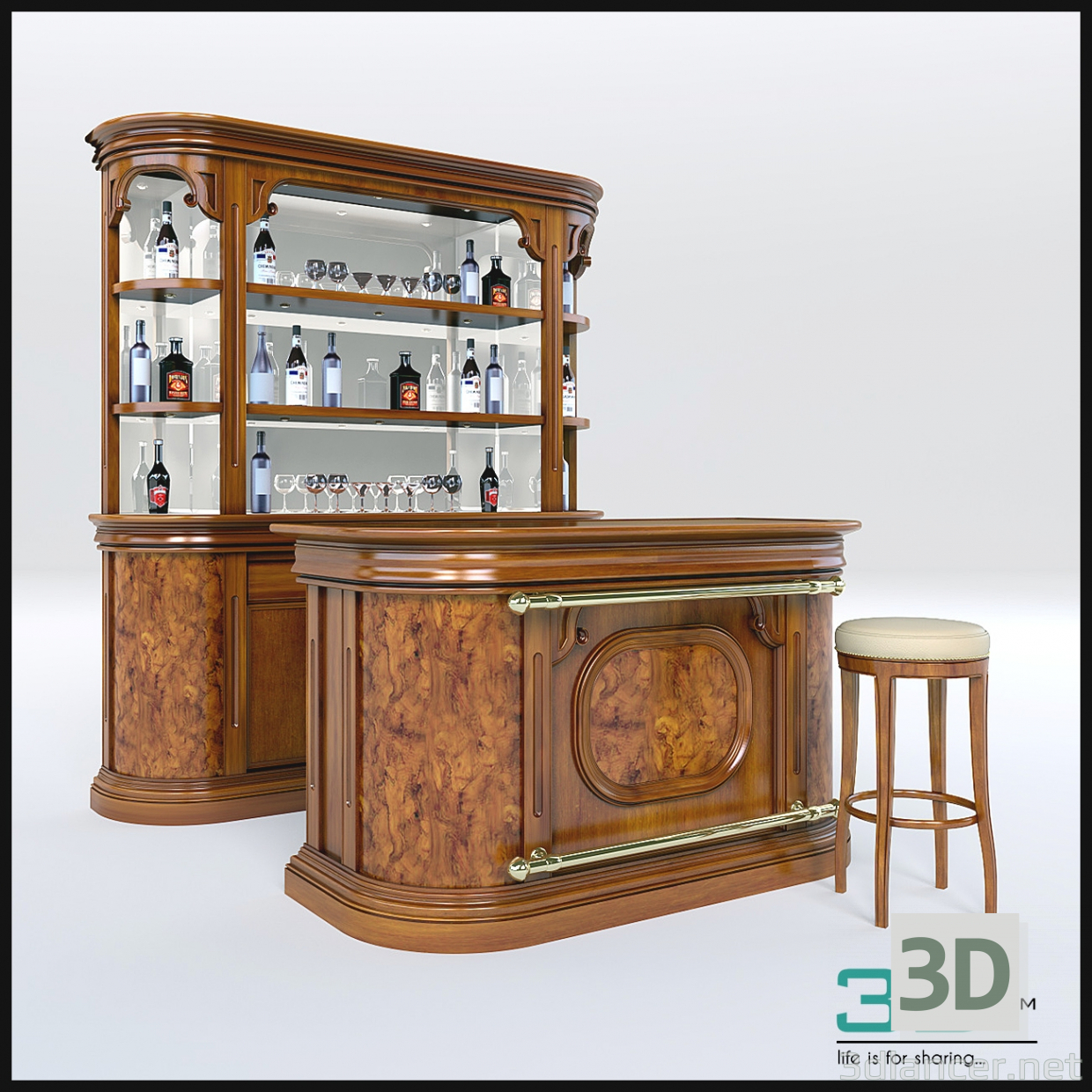 3d model bar in the style of art deco id 22739 for Food bar 3d model
