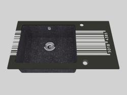 Fregadero de granito de vidrio, 1 cámara con un ala para secar - Edge Diamond Capella (ZSC GD2C)