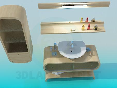 3d модель Мебель к умывальнику – превью