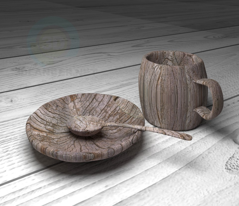 3d model Wooden utensils - preview