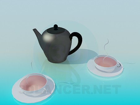 3d model Kettle with two cups - preview