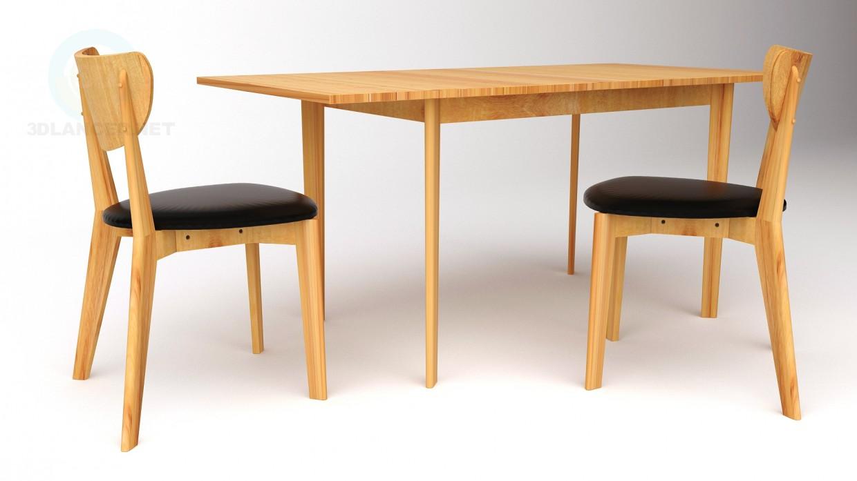 3d модель Стіл, стільці HYGENA – превью