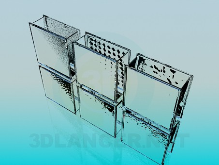 3d model Glass inserts in the wall - preview