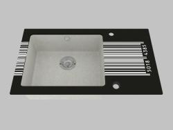 Fregadero de granito de vidrio, 1 cámara con un ala para secar - Edge Diamond Capella (ZSC SD2C)