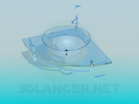3d модель Стеклянный умывальник – превью