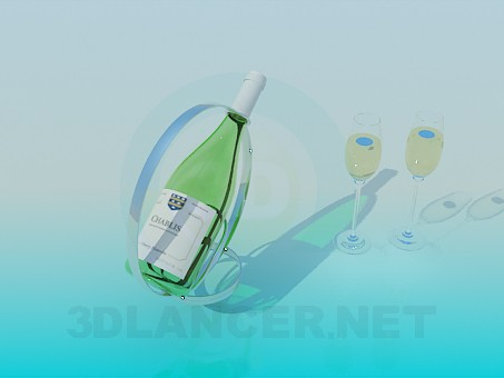 3d model Stand with champagne and wine glasses - preview