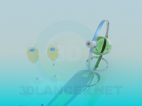 modelo 3D Soporte con copas de champagne y vino - escuchar