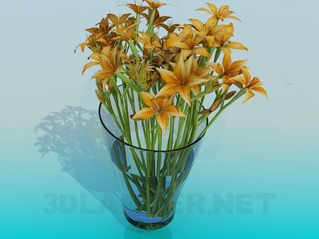 3d model glass vase with flowers - preview