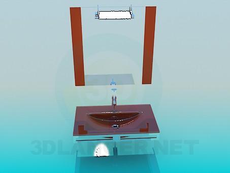3d моделирование Умывальник с зеркалом High Poly модель скачать бесплатно