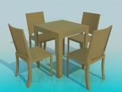 Mesa con juego de sillas