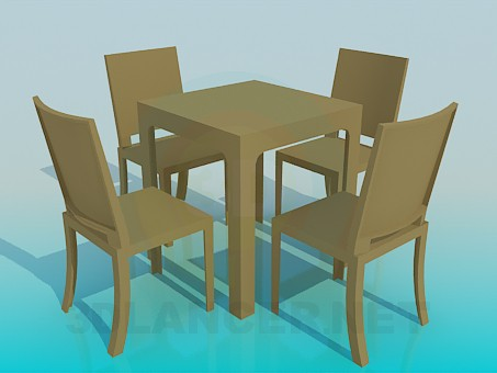 3d model Table with chairs set - preview