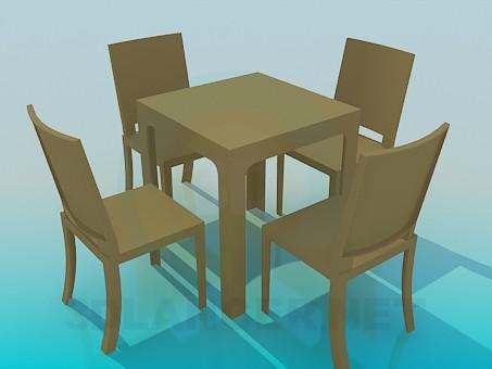 modelo 3D Mesa con juego de sillas - escuchar