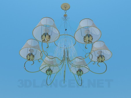 3d model Chandelier with transparent lampshades - preview