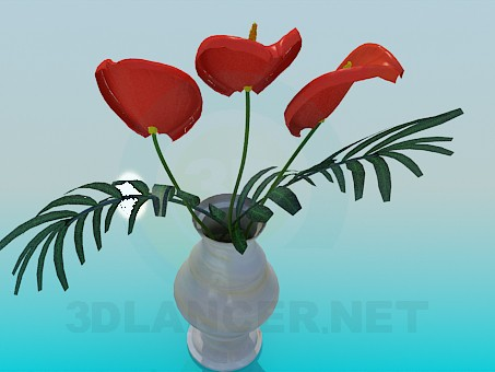 3d model Vase with flower - preview