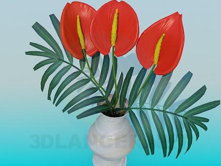 modelo 3D Jarrón con flores - escuchar