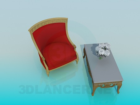descarga gratuita de 3D modelado modelo Mesa de centro con un cómodo sillón