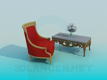 3d model Coffee table with a comfortable armchair - preview