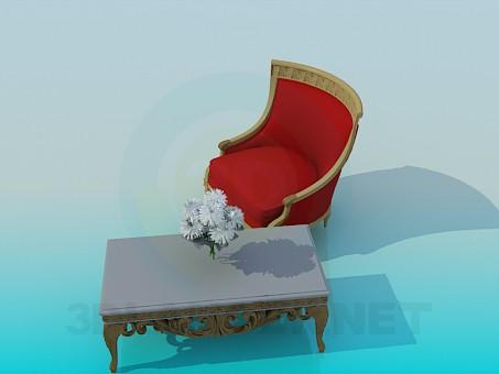 3d модель Журнальный столик с удобным креслом – превью