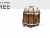 3d Snow Barrel Game Asset - Low poly