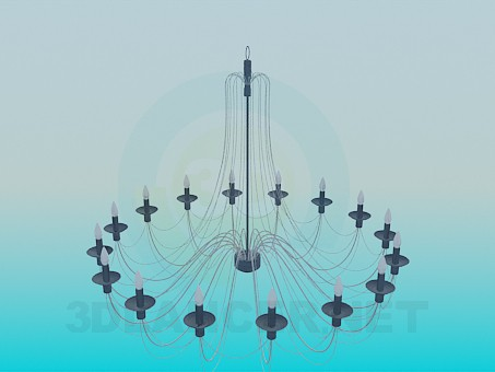 3d modeling Chandelier with candles model free download