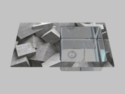 Lavado de acero y vidrio, 1 cámara con un ala para secar - Edge Diamond Pallas (ZSP 0B2C)