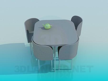 descarga gratuita de 3D modelado modelo Mesa de cocina con sillas