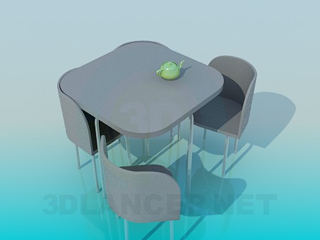 3d model Kitchen table with chairs - preview
