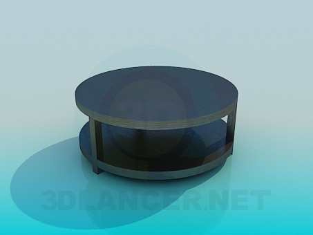 3d model Round coffee table with shelf - preview
