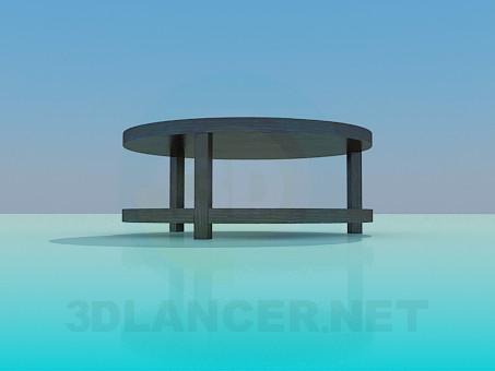 3d модель Круглий журнальний столик з поличкою – превью
