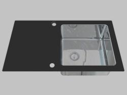 Lavado de acero de vidrio, 1 cámara con un ala para secar - el borde de una Palas redonda (ZSP 0X1C)